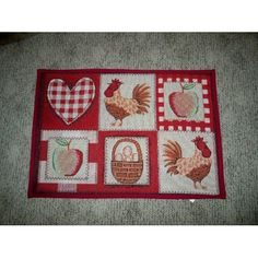 Hearts Apple Rooster Tapestry Country Folk Kitchen Mats Rug Rubber Back - $6.99
