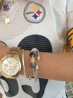 Pandora Essence bracelet with black and gold theme for the Steelers!!