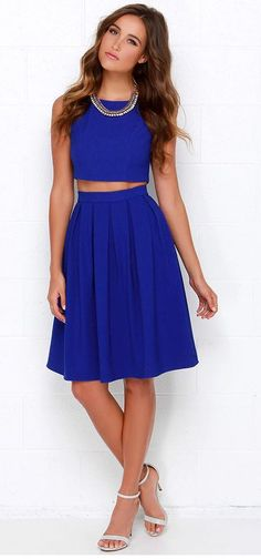 The Splendidly Spry Royal Blue Two-Piece Midi Dress is here to put some spring in your step with a cropped, sleeveless bodice and matching midi skirt with cute box pleats. Two Piece Outfit, Two Piece Dress, The Dress, Dress Skirt, Dress Long, Midi Skirt, Cute Dresses, Short Dresses, Cute Outfits