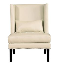 Chelsea Traditional Cream Black Bonded Leather Wood Wing Chair