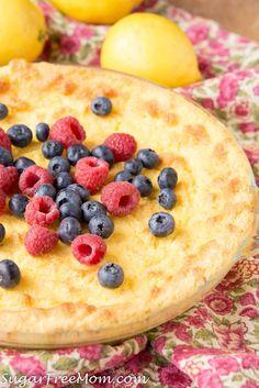 Sugar Free, Low Carb, Keto, Gluten Free Lemon Custard Pie, THM, Atkins