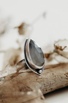 Faceted Grey Moonstone ring, set in fine silver with oxidized double banded ring band. Hand carved detail in either side of stone. Moonstone Ring, Band Rings, Hand Carved, Rings For Men, Style Inspiration, Gemstones, Grey, Silver, Clothes