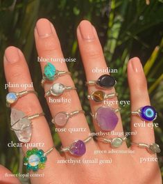 Wire Jewelry Rings, Handmade Wire Jewelry, Hand Jewelry, Crystal Jewelry, Diy Crystal Rings, Grunge Jewelry, Funky Jewelry, Hippie Jewelry, Cute Jewelry