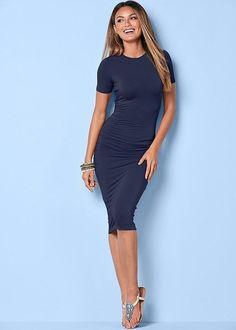 Venus Women's Basic High Neck Dress - Blue, Size XS