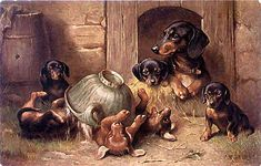 Family of Dachshunds: six puppies frolic while Mom calmly oversees -- by Carl Reichert, (1836-1918, Austrian)