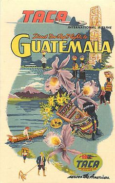 TACA Airline ~GUATEMALA~ Great multi-image Linen Advertising Postcard, 1949