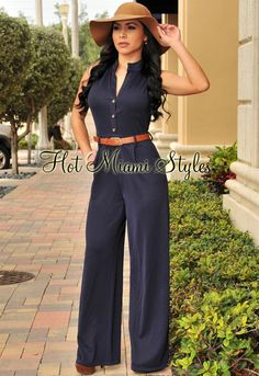 Hot Miami Styles carries a huge selection of jumpsuits and rompers including bandage jumpsuits and floral rompers. Fit for every occasion, a sequin jumpsuit is perfect for New Years. Blue Jumpsuits, Jumpsuits For Women, Pantalon Large, Mode Boho, Jumpsuit Pattern, Miami Fashion, Clubwear, Cute Outfits, Work Attire