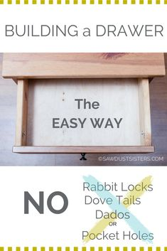 If you are looking for a SIMPLE way of building a drawer box, look no further. NO rabbit locks, dove tails, dados, or pocket holes. You can do it with very basic woodworking skills! Woodworking Tools List, Easy Woodworking Ideas, Popular Woodworking, Woodworking Furniture, Youtube Woodworking, Woodworking Videos, Woodworking Jointer, Woodworking Patterns, Woodworking Machinery
