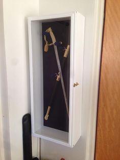 2-4 Sword Display Case Cabinet Rack Military Navy Civil War Samurai Medievel