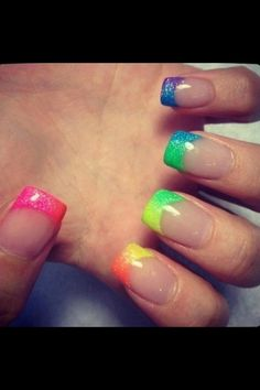 French Nails But With The Color Of Rainbow Manicure By: Rainbow Nails, Neon Nails, Love Nails, How To Do Nails, Pretty Nails, Neon Rainbow, Rainbow Colors, Glitter Nails, Bright Colors
