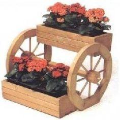 Dřevěný květináč s koly a se 2 truhlíky
