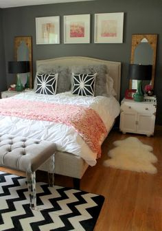 All of my favorite things in one room: grey, blush, tufted headboard and bench, fur, lucite, flowers...