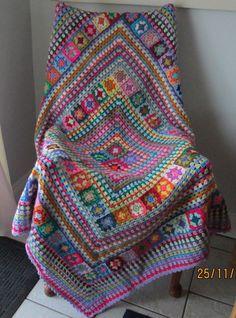 Stunning multi-coloured OOAK hand crocheted retro style granny square blanket #Handmade