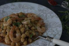 SALTEADO DE GARBANZOS CON LANGOSTINOS - Atrapada en mi cocina