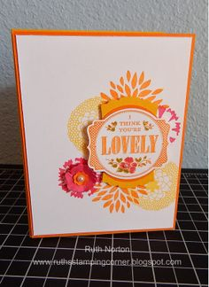 Ruth Norton using the Stampin' Up! Exclusive Deco Labels Framelits by Karen Burniston - Ruth's Stamping Corner: You're Lovely Petals
