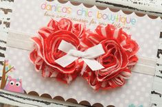 Valentines double red/white shabby flower by DanicasChicBowtique, $9.00