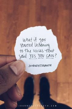 What if you started listening to the voices that said YES YOU CAN? | Inspirational quotes | motivational quotes | motivation | personal growth and development | quotes to live by | mindset | self-care | strength | courage | You are enough | passion | dreams | goals | hard | Journeystrength  work #InspirationalQuotes  |  #motivationalquotes |  #quotes  |  #quoteoftheday  |  #quotestoliveby  |  #quotesdaily