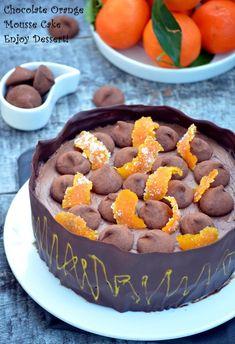 Tort cu mousse de portocale si spuma de ciocolata Orange Mousse, Romanian Desserts, Chocolate Orange, Chocolate Cakes, Mousse Cake, Something Sweet, Sweet Tooth, Sweet Treats, Cheesecake