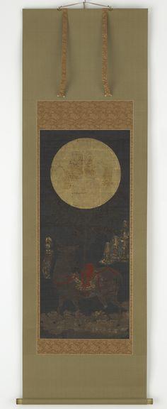 Japanese Kasuga Mandala - Buddhism, deer, Nanbokucho period (1333 - 1392), Shinto, mandala, Japan, mirror, kakemono, Japanese Art