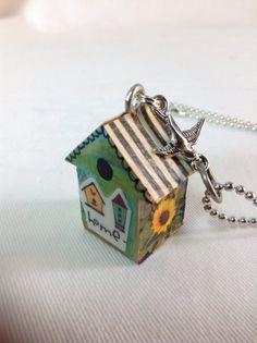 Little Birdhouse Necklace Pendant by BeadazzledBySharon on Etsy, $25.00