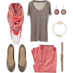 Taupe and Coral - Polyvore