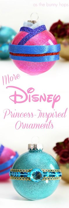 Make your own DIY Disney Princess-Inspired Ornaments with these ideas featuring Mulan, Jasmine and Belle! They're full of glitter, sparkle and fun!
