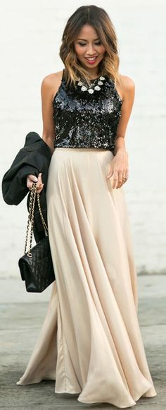 Lace & Locks Back Sequin Top Gold Maxi Skirt Fall Street Style Inspo. THIS is the look I want for New Year's Eve!!!