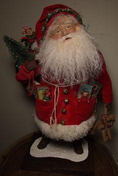 "Handmade Santa Claus~Teddy Bear & ToYs By Kim Sweet~Kim's Klaus~OoaK Vintage Antique Christmas Folk Art Doll~""Nicholas"" Father Christmas, Winter Christmas, All Things Christmas, Christmas Crafts, Christmas Decorations, Christmas Ornaments, Christmas Ideas, Santa Doll, Santa Figurines"