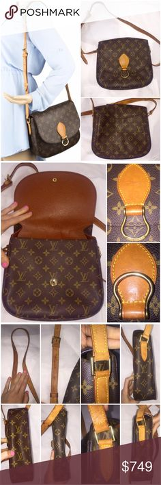 Authentic Louis Vuitton St. Cloud GM bag Authentic Louis Vuitton St. Cloud bag w/ brass hardware, tan vachetta leather trim, shoulder strap, & snap closure at front.  Exterior condition is excellent! Strap shows expected patina & hardware shows faint surface wear (see pics).  Interior condition: Good. Minor scuffing in main interior + damage inside inner pocket & outer pocket. Neither's sticky. (pic 4). Main interior doesn't have same damage.  Pic on mannequin's stock pic for size. All other…