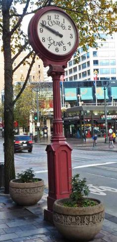 Century Square Street Clock located on Pine Street near Fifth Avenue in Seattle