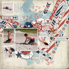 By The Seaside by Karen Lewis Beach Sketchbook by Julia Makotinsky Fuss Free: Straight To The Heart by Fiddle-Dee-Dee Designs Font is Sandals   Watch Cheryl Scrap this layout: [ link ]