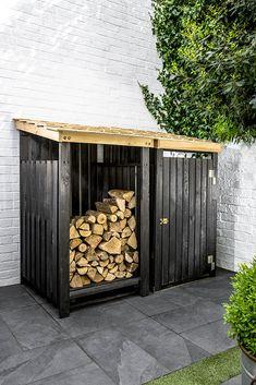 Outdoor Firewood Rack, Firewood Shed, Firewood Storage, Outdoor Storage, Bin Storage, Backyard Patio, Backyard Landscaping, Bin Store Garden, Box Garden