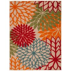 Nourison Aloha Green 3 ft. 6 in. x 5 ft. 6 in. Indoor/Outdoor Area Rug - 242679 - The Home Depot