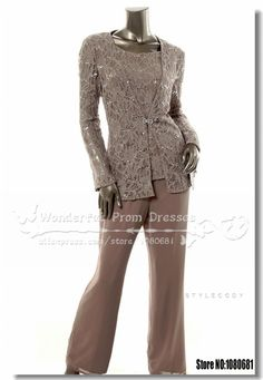 2014 Spring Three Piece mother of the bride Wedding pants suit With Lace Jacket US $149.00