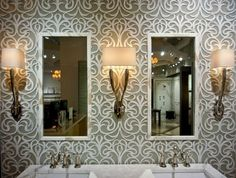 too much of this tile, but shows it well Elegant waterjet tile pattern from Artistic Tile features marble and glass
