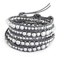 Glass wrap bracelet delivered in an Eve's Addiction gift box. Gray pearl beads make this wrap bracelet a fashionable statement!
