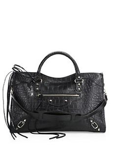 Balenciaga - City Stamped Crocodile Embossed Leather Bag
