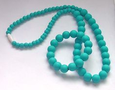 Mommy and Baby Turquoise Blue Silicone Chew Teething Beads Necklace & Bracelet