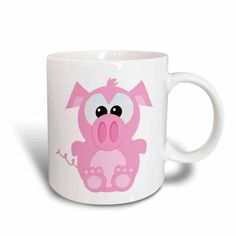 3dRose Cute Goofkins Piggy Cartoon, Ceramic Mug, 11-ounce