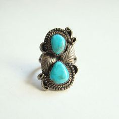Navajo G Reeves Turquoise Ring Size 7.5 Sterling Silver Signed Native American Indian Jewelry Boho Bohemian Hippie Chic by redroselady on Etsy