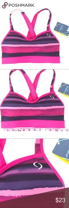 Brooks Moving Comfort Sports Bra XS A-B Cup New with tags brooks running sports athletic bra pink and purple moving comfort collection.  Size XS A-B cup  Cups do have some padding see Photos Brooks Intimates & Sleepwear Bras
