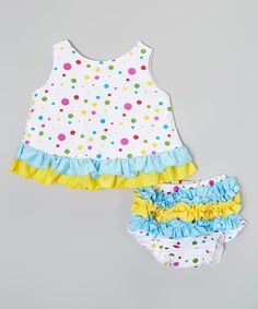 Look at this #zulilyfind! Yellow & Blue Dot Swing Top & Diaper Cover - Infant by Baby Gem #zulilyfinds