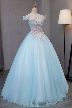 blue off the shoulder lace strapless long evening dresses prom dress applique pink flower tulle lace sweet 16 dress Blue Evening Dresses, Blue Dresses, Prom Dresses, Dress Outfits, Dress Prom, Sweet 16 Dresses Blue, Light Blue Quinceanera Dresses, Pink And Blue Dress, Party Dress