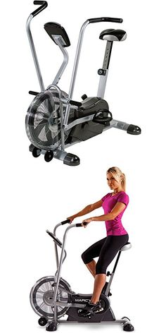 Upright Exercise Fan Bike Home Gym Workout Cardio Sports Fitness Taining Stationary Bike Dual Action Arms Work The Upper Body Fan Flows Air Past The Body Adjustable Seat 48.00 x 25.00 x 48.00 Inches