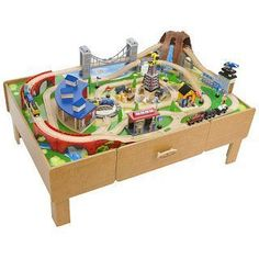 Chad Valley Wooden Table and 90 Piece Train Set. | Model Train ...