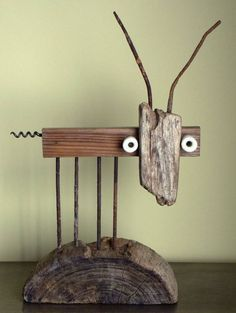 """Saatchi Art is pleased to offer the sculpture, """"goat [private collection],"""" by Oriol Cabrero. Original Sculpture: Mixed Media on Wood, Iron, Ceramic. Into The Woods, Driftwood Projects, Driftwood Art, Wood And Metal, Metal Art, Deco Cool, Art Stand, Wood Animal, Found Object Art"""