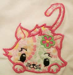 Girls Crouching Kitty Machine Embroidered Applique, handmade Applique, Made in the USA, #30 - pinned by pin4etsy.com