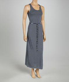 Look at this #zulilyfind! Navy & Heather Gray Stripe Tie-Waist Maxi Dress by Just Love #zulilyfinds