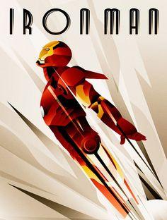Retro Iron Man Art Deco Style Image Metal Sign Tin Wall Door Plaque Home Gift