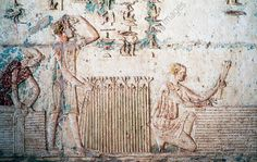 HARVEST, AGRICULTURAL SCENE, RELIEF FROM VESTIBULE OF TOMB OF PETOSIRIS, NECROPOLIS OF KHMUN (OR HERMOPOLIS), TUNA EL-GEBEL, EGYPT, EGYPTIAN CIVILIZATION, PTOLEMAIC KINGDOM, HELLENISTIC ERA